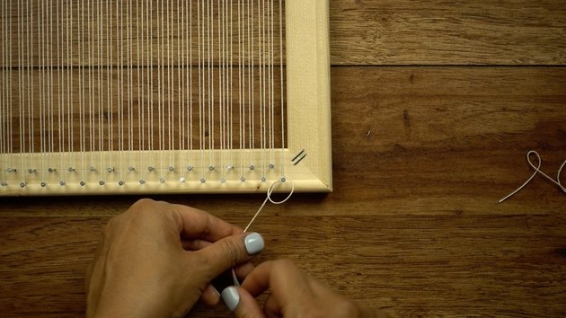 Warping DIY simple frame loom.