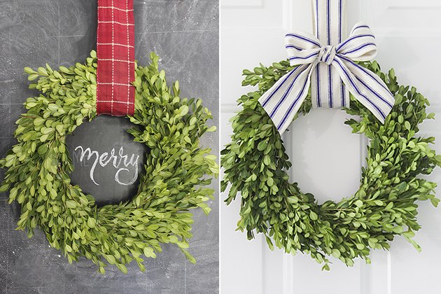 Two ribbon options with the same wreath