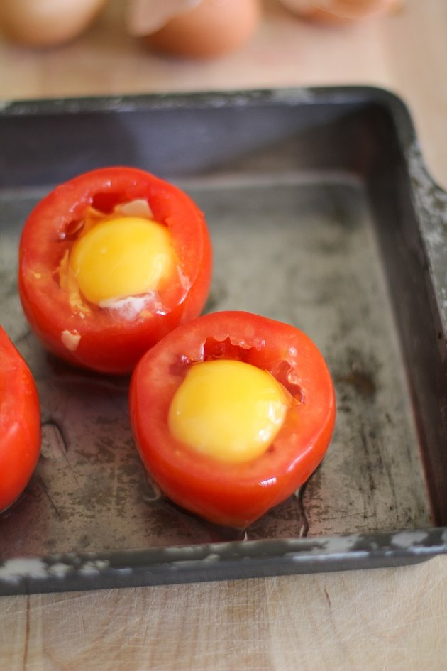 Tomatoes with raw eggs inside.