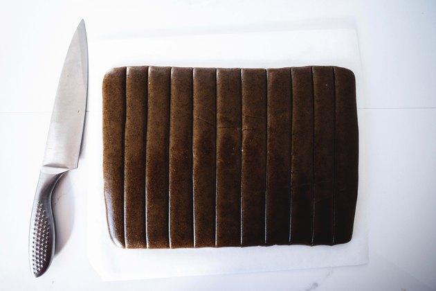 Caramel sliced lengthwise.