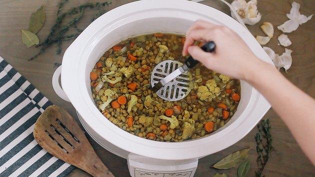 Mashing lentils in crockpot