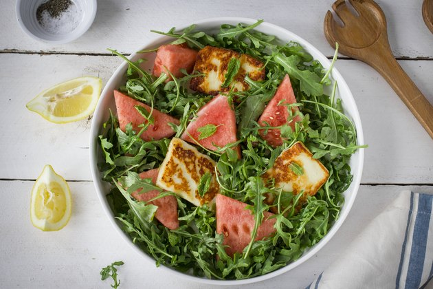Watermelon and halloumi salad