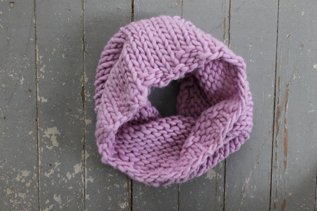 A completed knit cowl.
