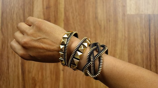DIY bracelets made out of zippers.