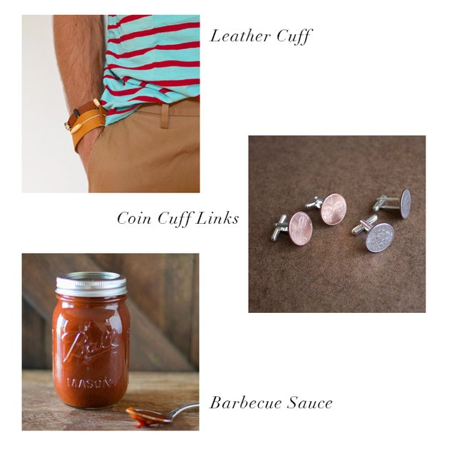 leather cuff, coin cuff links, barbecue sauce