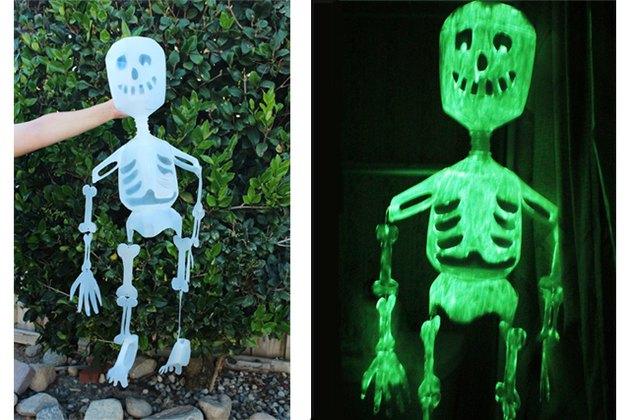 Glow in the dark skeleton made from milk jugs.
