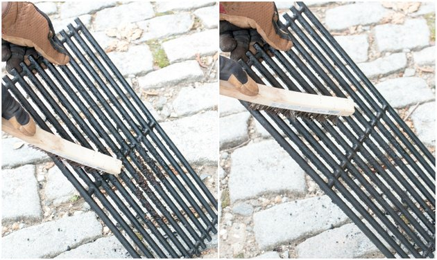 Cleaning BBQ grill grates with a wire brush