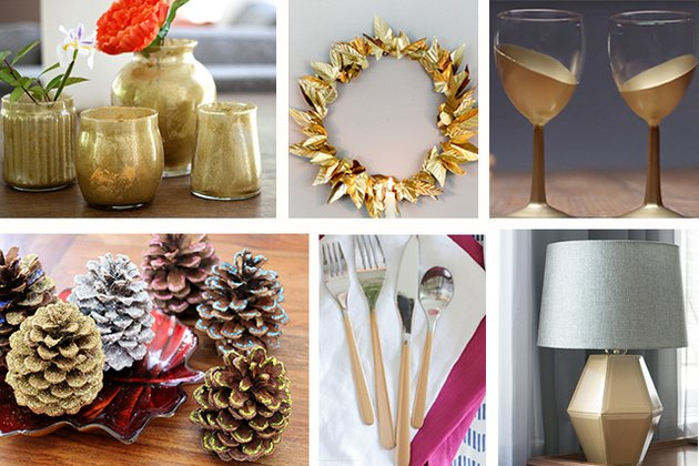 Collection of gold home accents