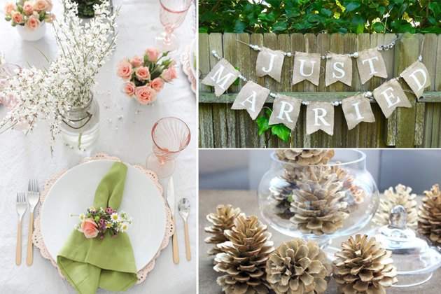"A floral table setting, a ""just married sign"" and pine cones in a vase."