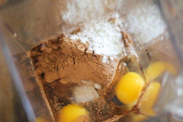 Brownie ingredients in a blender