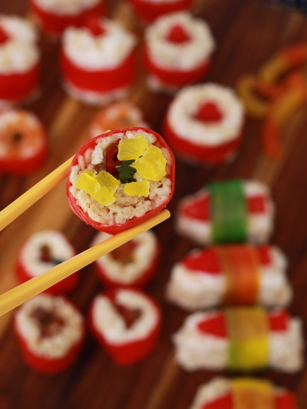 Candy sushi with roe