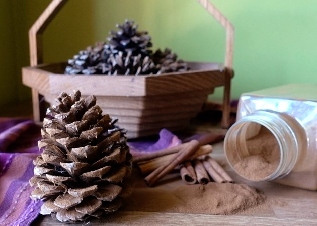 DIY cinnamon-scented pinecones.