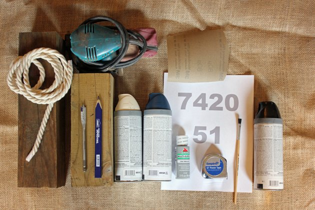 Supplies needed to make decorative wooden buoys