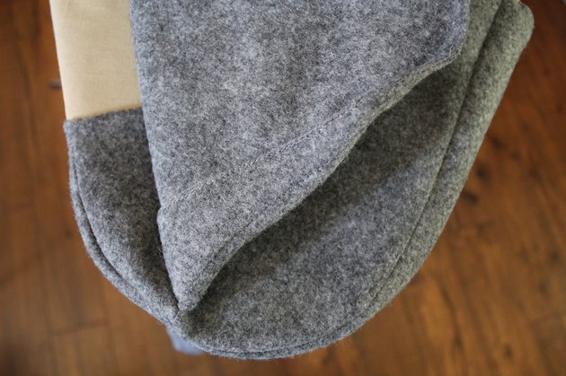 Use a folded up t-shirt to iron curved seams.