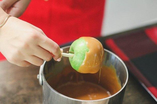 Melted caramel on apple