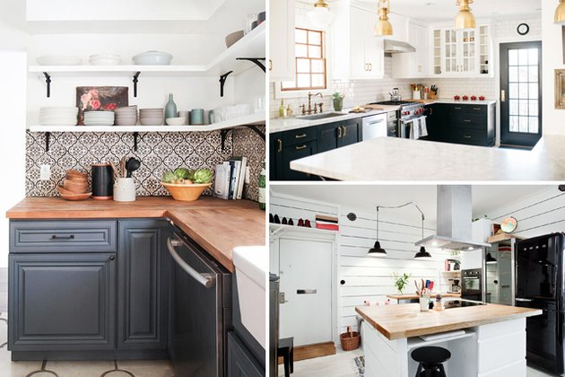 Three bright kitchens with tile backsplashes.