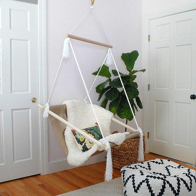 Swinging hammock chair.