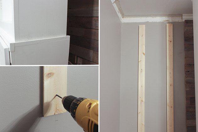 Attaching furring strips to wall behind bookcase