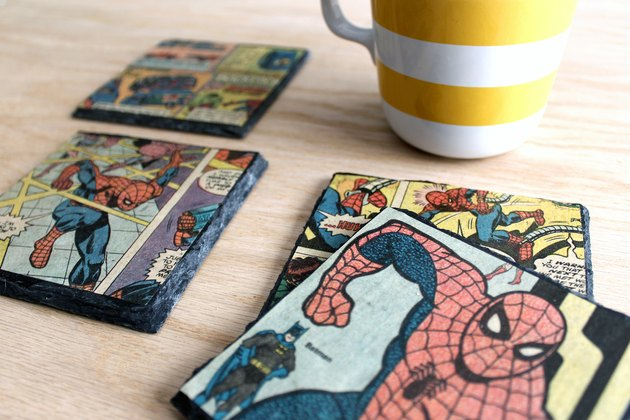 how to make decoupaged slate coasters with vintage comic books!