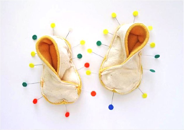 Slippers with lots of pins
