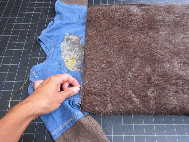 Sew fur to shirt