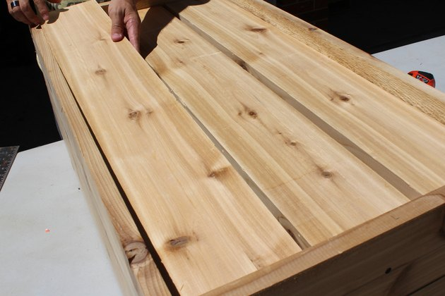 "lay out three 34 1/4"" wood planks 