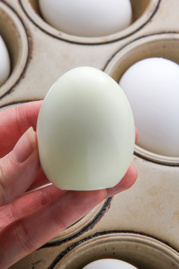 Peel eggs.