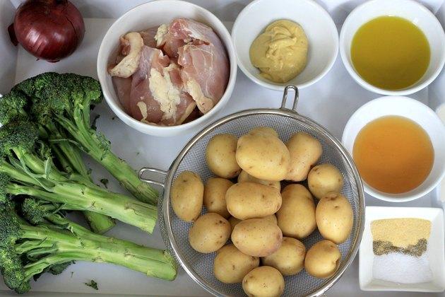 ingredients for honey mustard sheet pan chicken