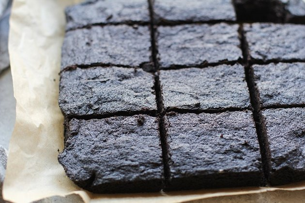 Batch of brownies cut into squares