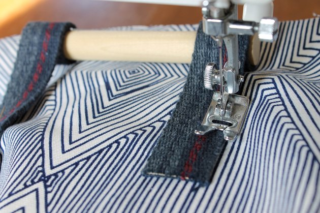 sew handles to outer fabric