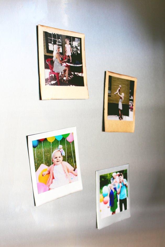 Photos on a fridge.