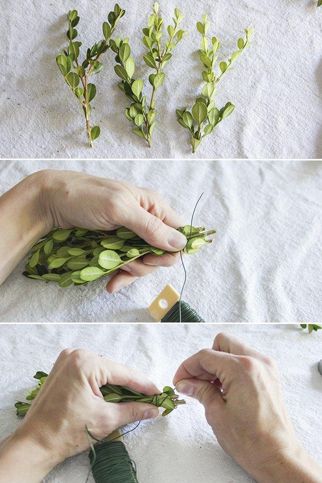 3 steps to wrap bundles of boxwood stems