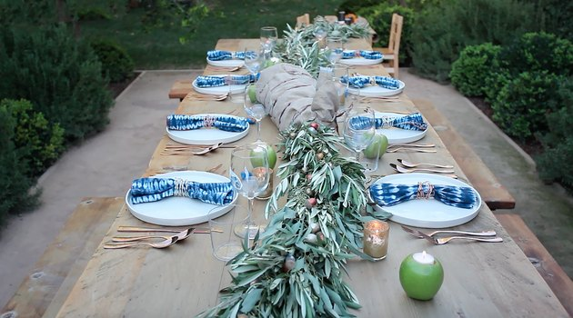 eucalyptus garlands centered along table
