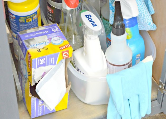 Store cleaning supplies under the kitchen sink.