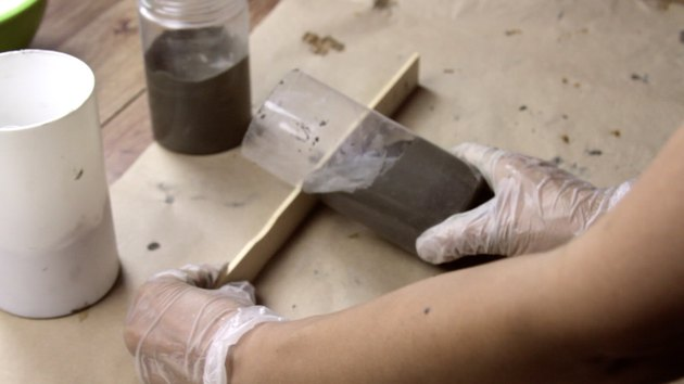 Shaping cement base for DIY candle project