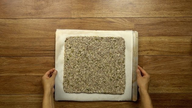 Baking healthy seed and nut crispbread crackers.