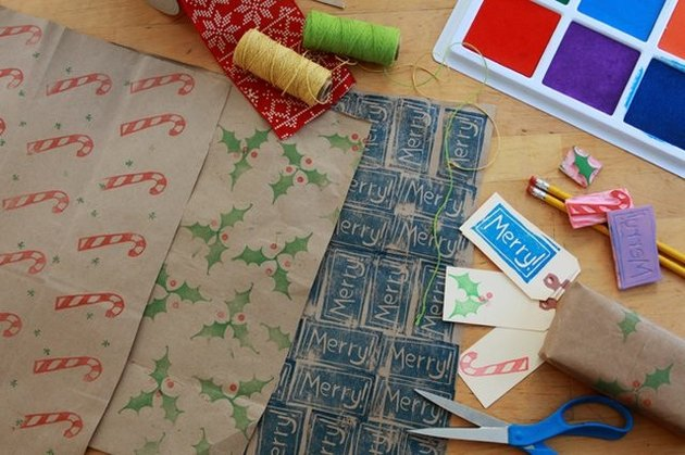 Carving stamps for paper bag holiday wrap