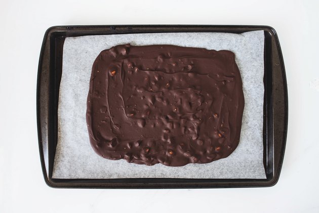 Chilled chocolate and almond slab.