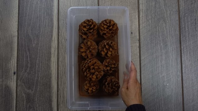 Pinecones coated with ground cinnamon for DIY cinnamon-scented pinecones.