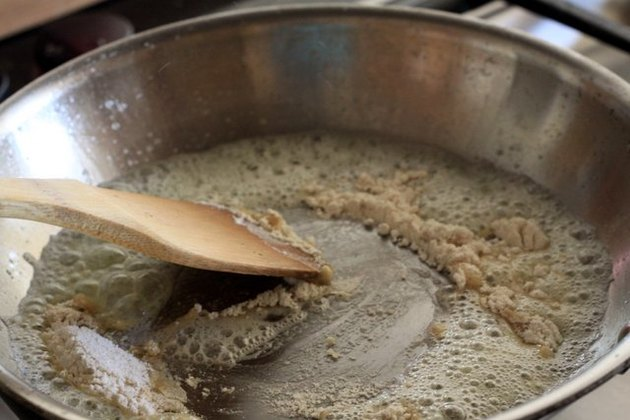 Whole-wheat flour cooking in butter.