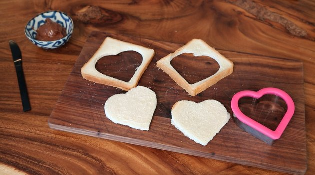 cutting bread into heart shapes