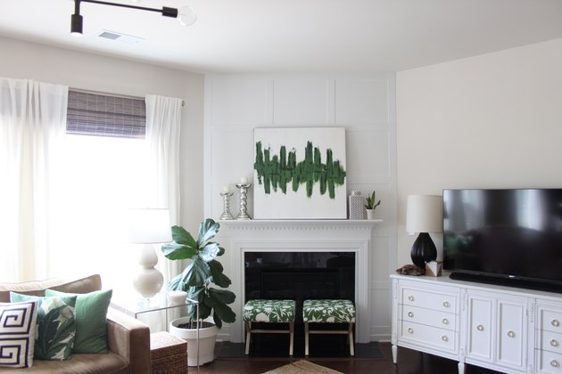 DIY board and batten fireplace accent wall