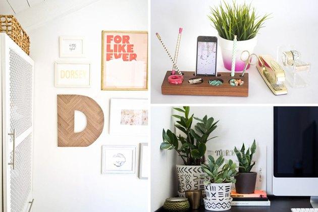 Herringbone letter, wooden desk organizer, and desk plants.
