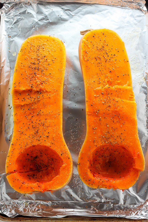 Butternut squash cut in half.