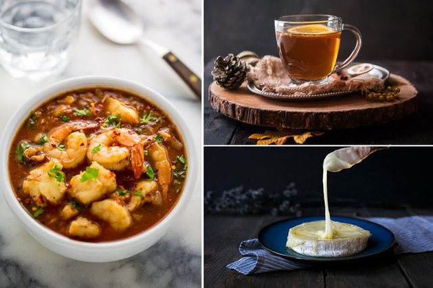 seafood soup, mulled cider and brie cheese.