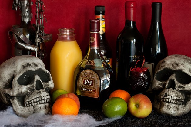 Sangria ingredients styled with skulls