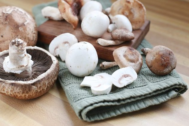 white and portobello mushrooms