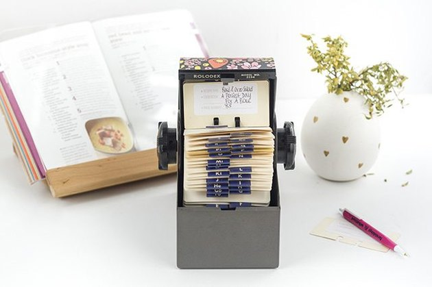 Rolodex meal recipe box.