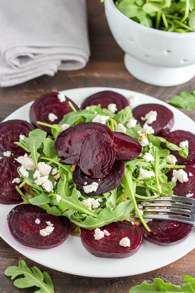 Roasted beet salad ready to be served.