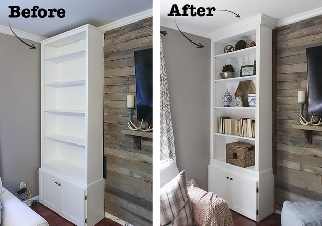 Prefab bookcase before and after 'built-in' treatment